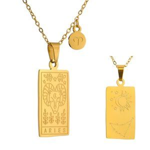 NEW 18K Gold Plated Aries Sign Zodiac Tarot Card Square Pendant Necklace
